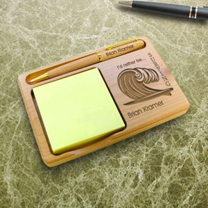 Surfing Wooden Notepad & Pen Holder