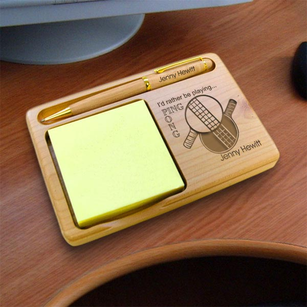 Ping Pong� Wooden Notepad & Pen Holder