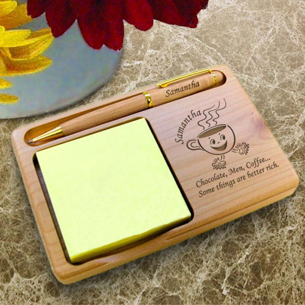 Coffee Cup Wooden Notepad & Pen Holder
