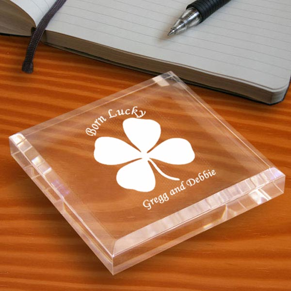 Lucky Four Leaf Clover Keepsake & Paperweight