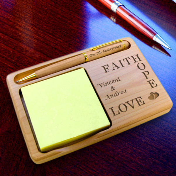 Faith, Hope, Love Wooden Notepad & Pen Holder