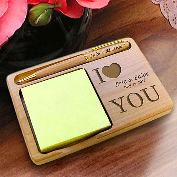 I Love You Wooden Notepad & Pen Holder