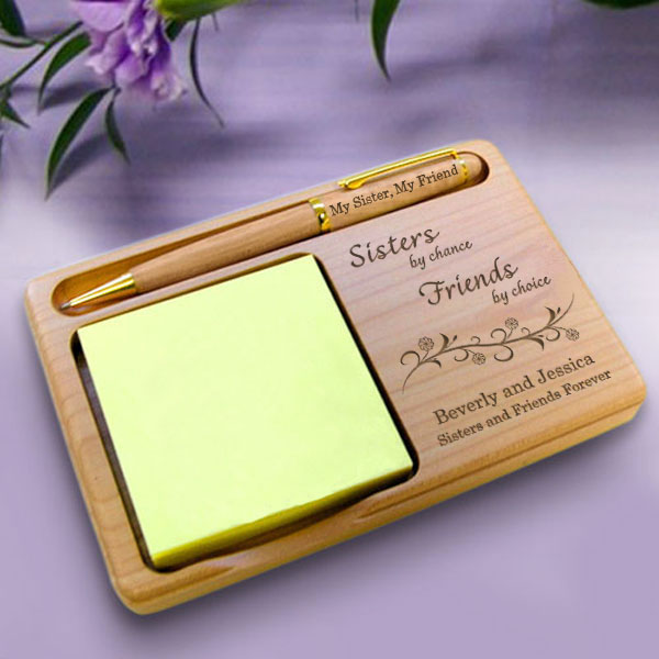 Sisters & Friends Wooden Notepad & Pen Holder
