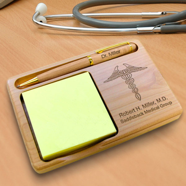 Doctor Wooden Notepad & Pen Holder