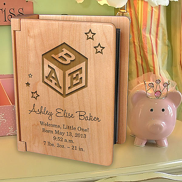 Baby's Monogram Wooden Photo Album
