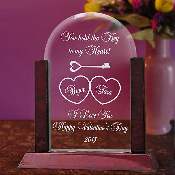 Key To My Heart Glass Arch Keepsake with Wooden Base
