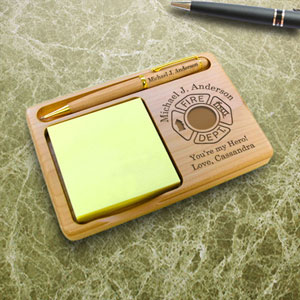 Firefighter Wooden Notepad & Pen Holder