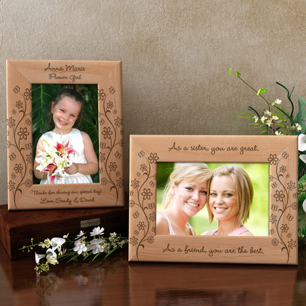 Flowers and Butterflies Wooden Picture Frame