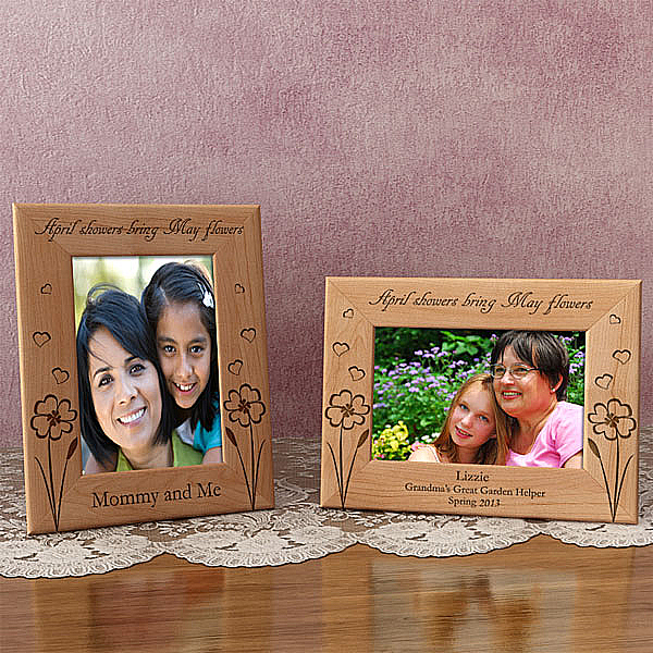 May Flowers Wooden Picture Frame