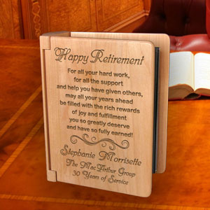 Happy Retirement Wooden Photo Album