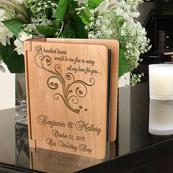 A Hundred Hearts Wooden Photo Album