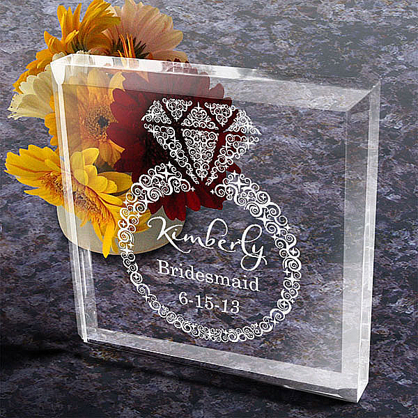 Diamonds are Forever Bridal Party Keepsake and Paperweight