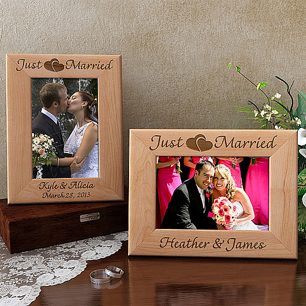 Just Married Wooden Picture Frame