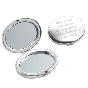 Silver Oval Compact Mirror