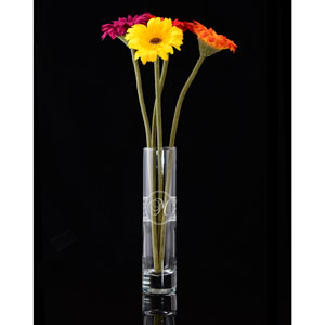 Initial Glass Vase with Decorative Border