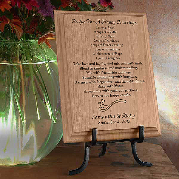 Recipe For A Happy Marriage Wooden Plaque