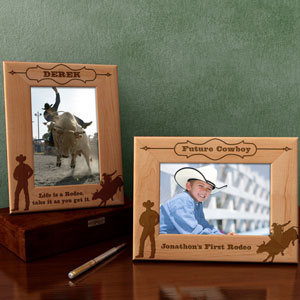 Rodeo Bull Rider Wooden Picture Frame