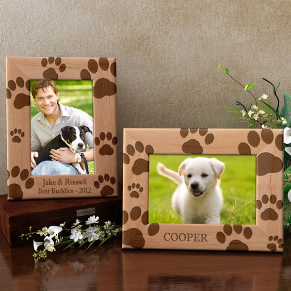 Doggie Paw Prints Wooden Picture Frame
