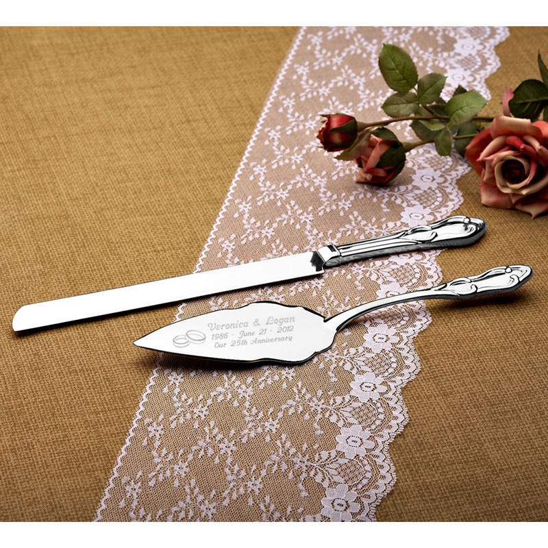 Wedding Rings Silver Cake Knife and Server Set