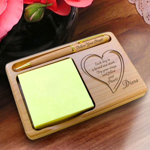 Follow Your Heart Wooden Notepad & Pen Holder