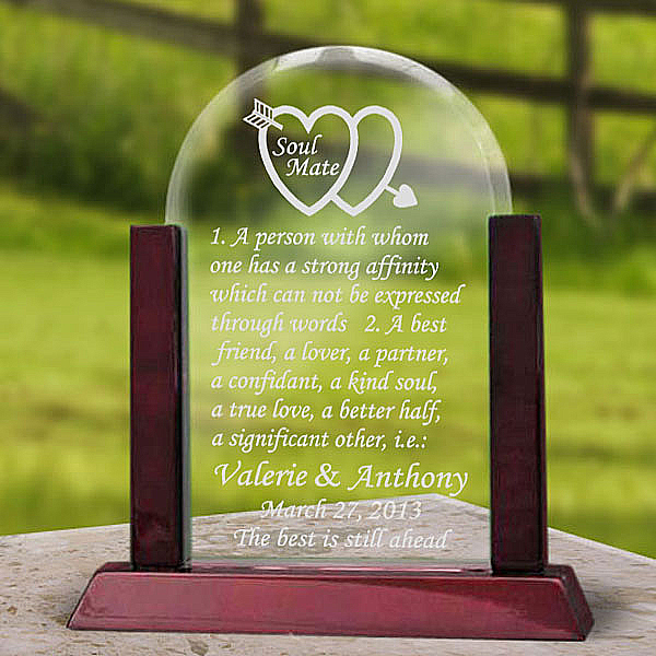 Soul Mate Definition Glass Arch Keepsake with Wooden Base