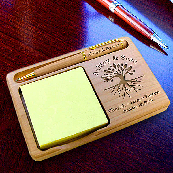 Tree of Life Wooden Notepad & Pen Holder
