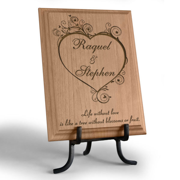 Blossoming Love Wooden Plaque