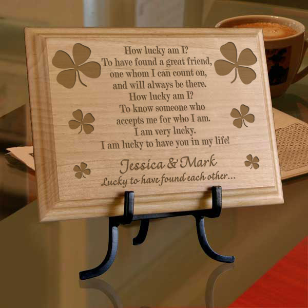 Lucky Four-Leaf Clover Wooden Plaque