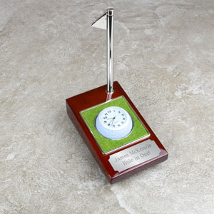 Hole in One Golf Ball Clock with Pen Set
