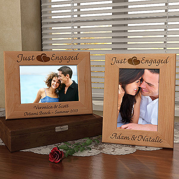 Just Engaged Wooden Picture Frame