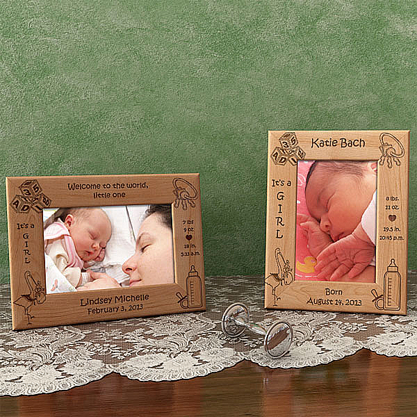 Birth Announcement Wooden Picture Frame - Girl