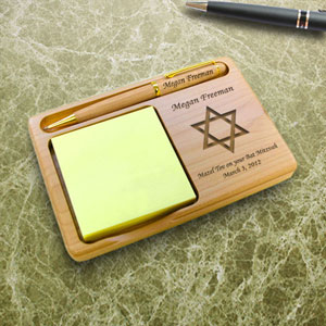 Star of David Wooden Notepad & Pen Holder