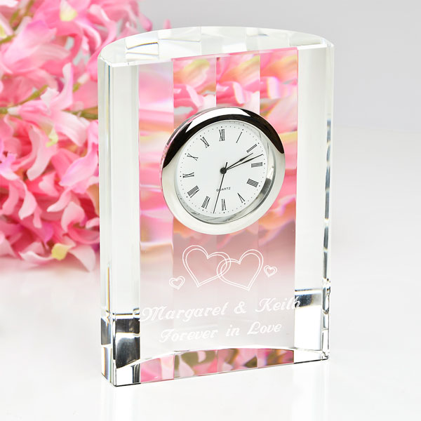 Forever in Love Crystal Clock