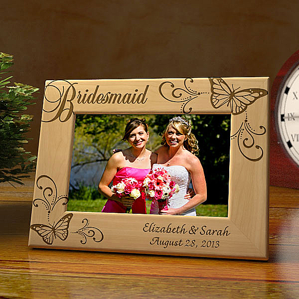 Butterfly Bridesmaid Wooden Picture Frame