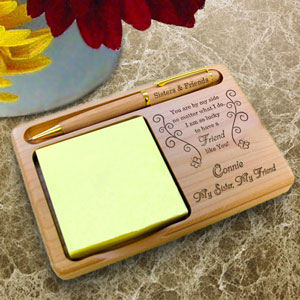 Butterfly Friend Wooden Notepad & Pen Holder