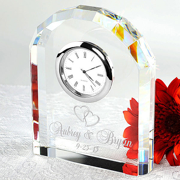 Our Timeless Love Crystal Arch Clock