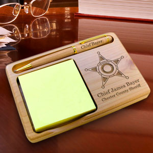 Sheriff Wooden Notepad & Pen Holder