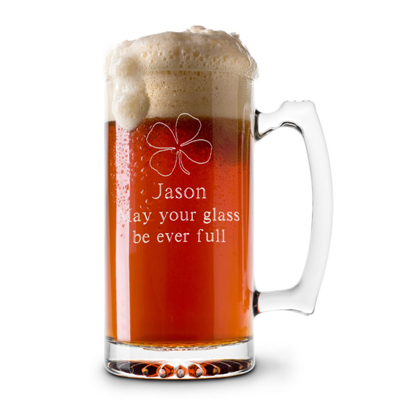 13 oz. Glass Four-Leaf Clover Beer & Sports Mug