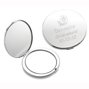 Flower Silver Compact Mirror