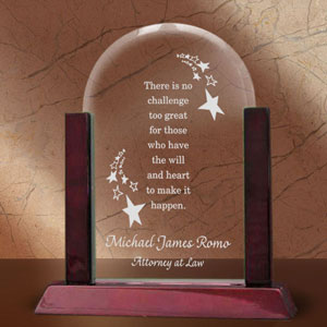 Make it Happen Glass Arch Keepsake with Wooden Base