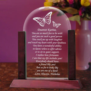 Butterfly Glass Arch Keepsake with Wooden Base
