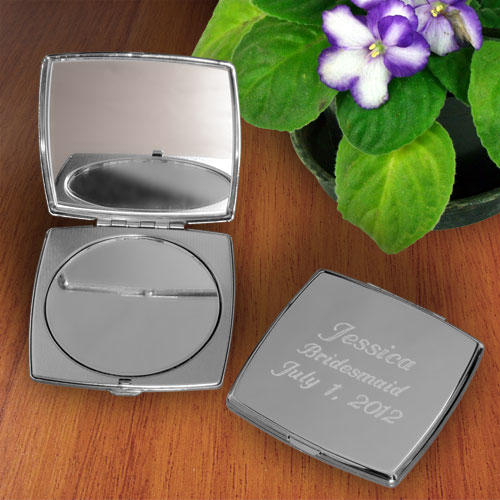 Simply Silver Square Compact Mirror