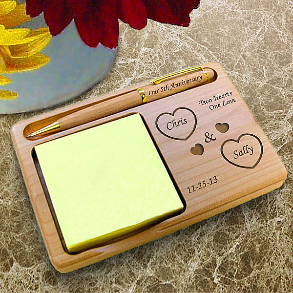 Both Our Hearts Wooden Notepad & Pen Holder