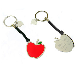 Apple Key Chain with Heart Charm