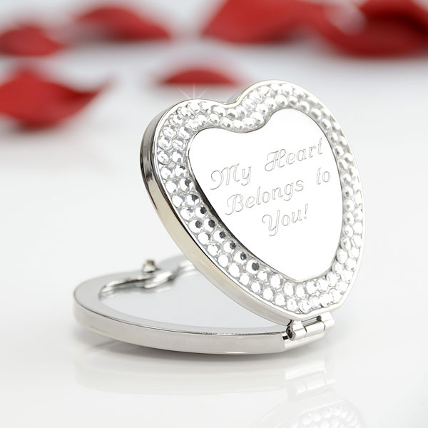 Shimmering Heart Compact Mirror