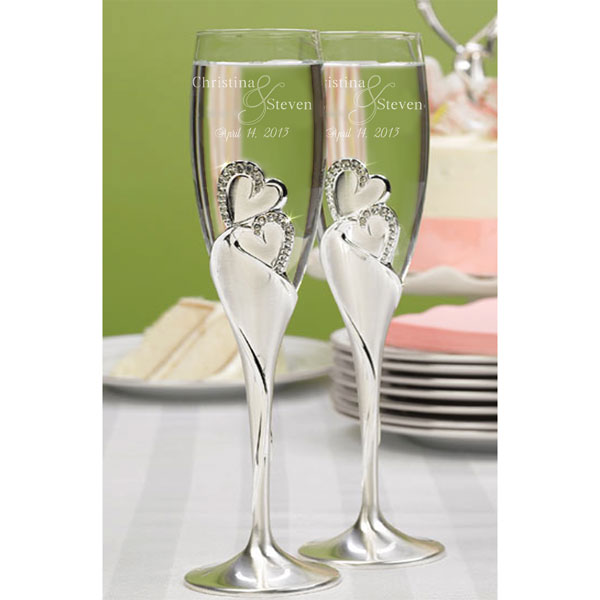 Our Hearts as One Champagne Flute Set