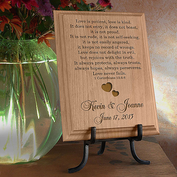 Love Never Fails Wooden Plaque