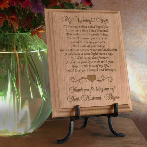My Wonderful Wife Wooden Plaque