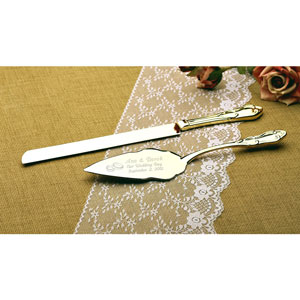 Wedding Rings Gold Cake Knife and Server Set