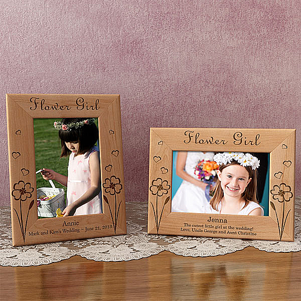 Lovable Flower Girl Wooden Picture Frame